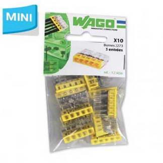 WAGO S2273 10 mini bornes de connexion rapide 5 entrées pour fils rigides - 2273-205