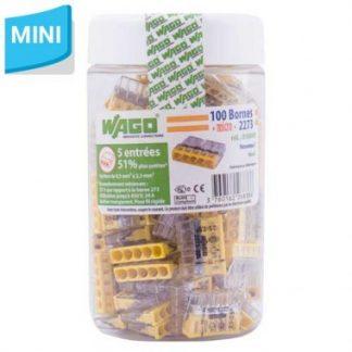 WAGO S2273 100 mini bornes de connexion rapide 5 entrées pour fils rigides - 2273-205