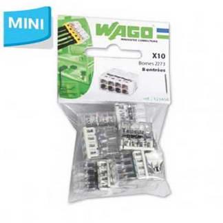 WAGO S2273 10 mini bornes de connexion rapide 8 entrées pour fils rigides - 2273-208