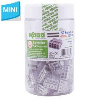 WAGO S2273 50 mini bornes de connexion rapide 8 entrées pour fils rigides - 2273-208