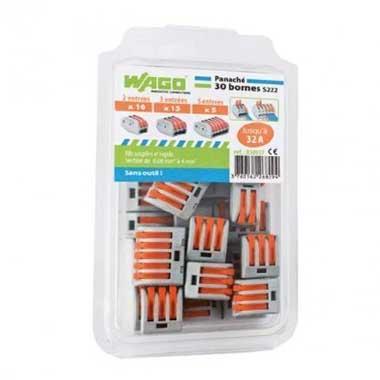WAGO S222 30 bornes de connexion rapide 2, 3 et 5 entrées pour fils souples et rigides