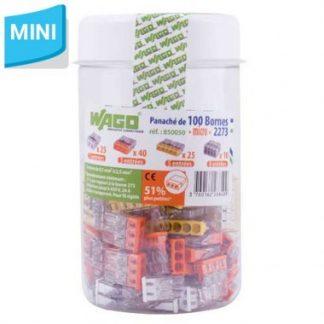 WAGO S2273 100 mini bornes de connexion rapide 2, 3, 5 et 8 entrées pour fils rigides