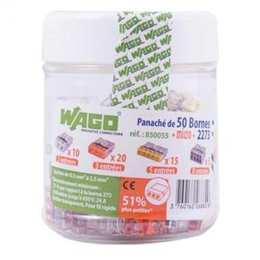 WAGO S2273 50 mini bornes de connexion rapide 2, 3, 5 et 8 entrées pour fils rigides